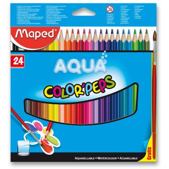 Akvarelové pastelky Maped - 24 barev + štětec