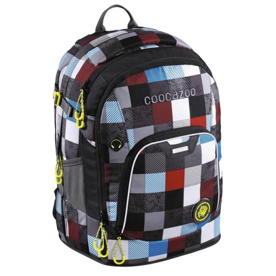 Školský batoh Coocazoo RayDay, Checkmate Blue Red