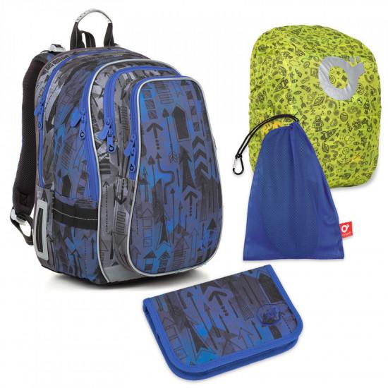 Velký školní set Topgal LYNN 18005 B - batoh + penál + pytlík na přezůvky + pláštěnka ZIGI