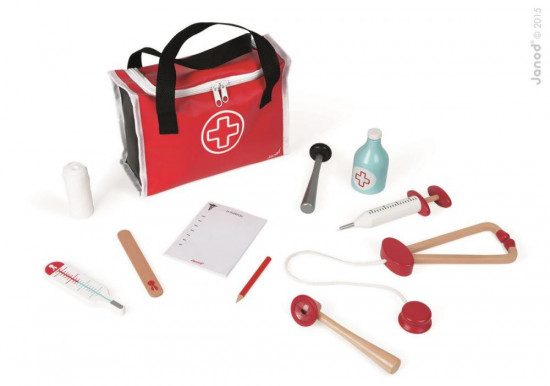 Lékařský kufřík s dřevěnými nástroji - 10 ks