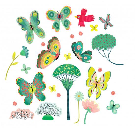 Samolepící dekorace na sklo - Motýlci v zahradě - Sleva