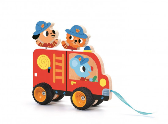 Drevené hasičské auto – ťahacia hračka