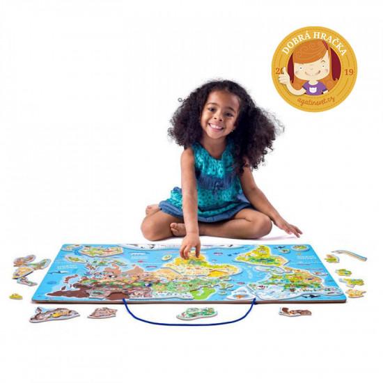 Magnetická mapa Svět v obrázcích 2 v 1 -  Hraj si a uč se