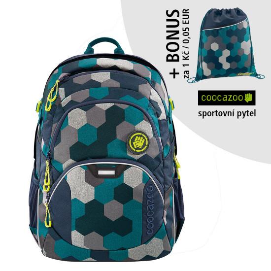 Školní batoh Coocazoo JobJobber2, Blue Geometric Melange + sportovní pytel za 1 Kč