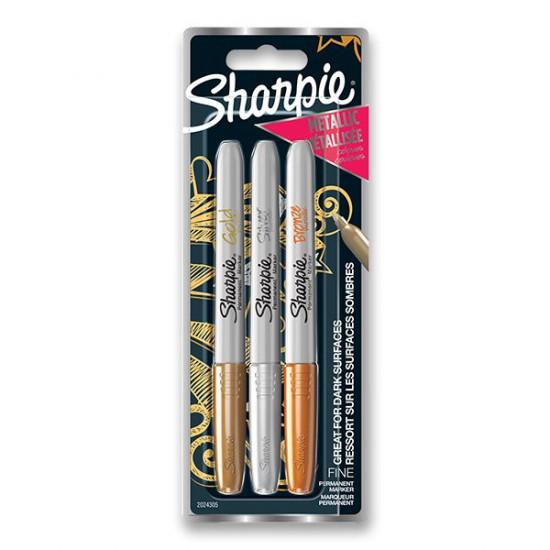 Permanentný popisovač Sharpie Fine súprava 3 ks - metalické farby