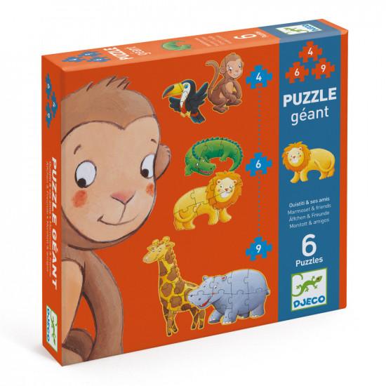 Sada 6 puzzle pro nejmenší Opičák a jeho kamarádi