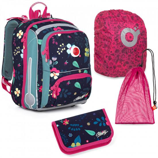 Sada pre školáčku Topgal BEBE 21001 G SET LARGE - školská aktovka, vrecko na prezuvky, pláštenka na batoh, školský peračník