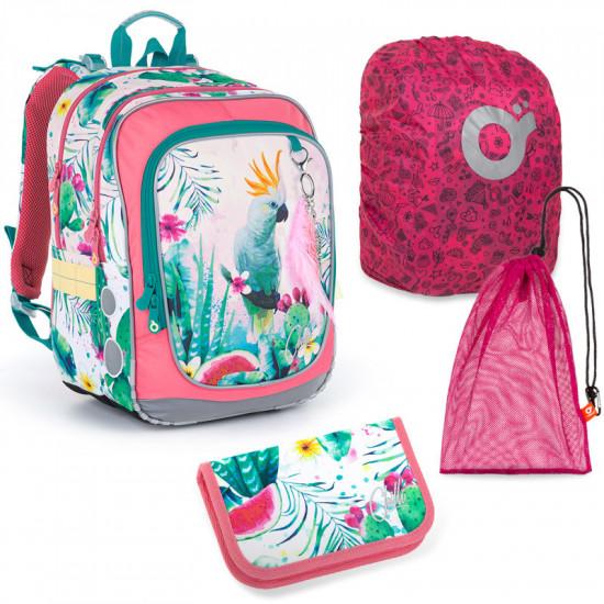 Sada pre školáčku Topgal ENDY 21002 G SET LARGE - školská taška, vrecko na prezuvky, pláštenka na batoh, školský peračník