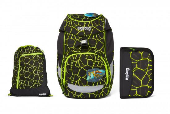 Školní set Ergobag prime - Fluo dragon - batoh + penál + sportovní pytel