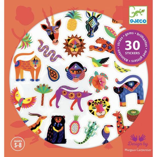 Samolepky - Exotické zvieratá - 30 ks