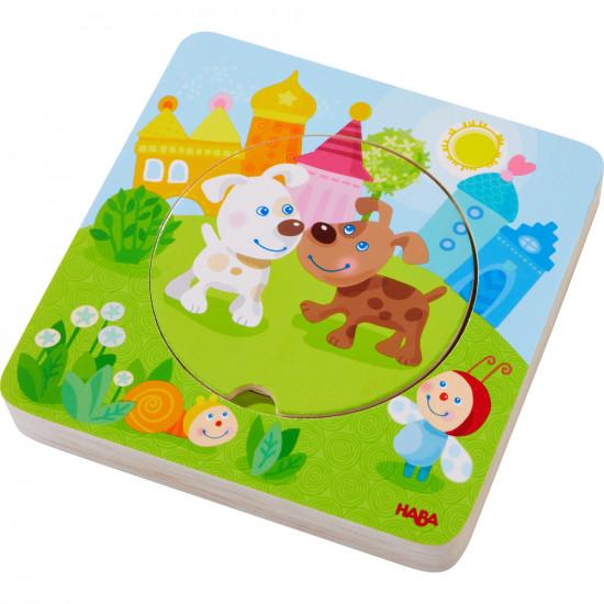 Dřevěné vícevrstvé puzzle - mláďátka