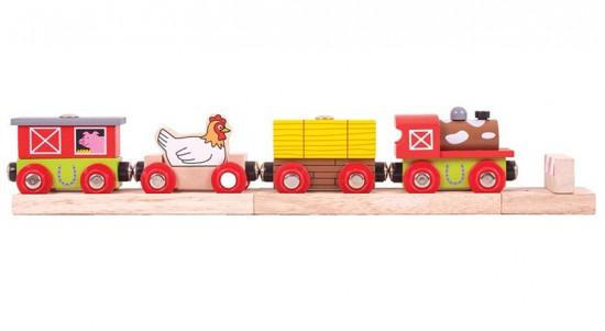 Bigjigs - farmářský vlak + 3 koleje