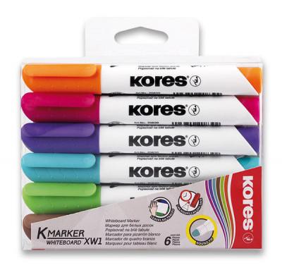 Popisovač Kores K-Marker Whiteboard – súprava 6 farieb