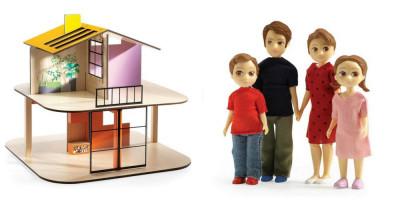 Domček pre bábiky - farebný domček - súprava s rodinou Toma a Marion