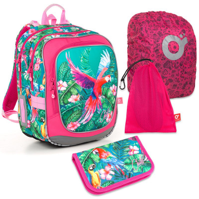 Set pre školáčku ENDY 18001 G SET LARGE - školská taška, vrecko na prezuvky, pláštenka na batoh, školský peračník