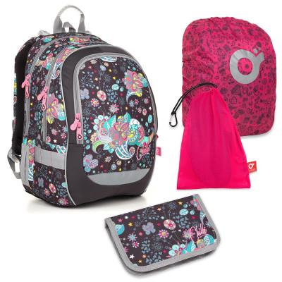 Set pre školáčku CODA 18006 G SET LARGE - školská taška, vrecko na prezuvky, pláštenka na batoh, školský peračník