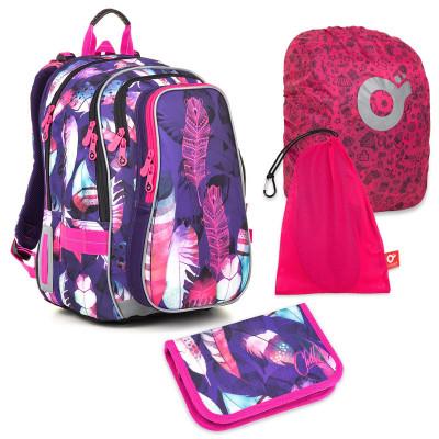 Sada pre školáčku LYNN 18009 G SET LARGE - školská taška, vrecko na prezuvky, pláštenka na batoh, školský peračník