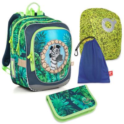 Set pre školáka ENDY 18010 B SET LARGE - školská taška, vrecko na prezuvky, pláštenka na batoh, školský peračník