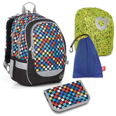 Set pre školáka CODA 18020 B SET LARGE - školská taška, vrecko na prezuvky, pláštenka na batoh, školský peračník