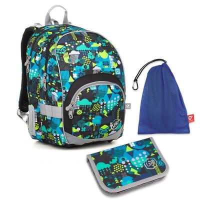 Sada pre školáka KIMI 18011 B SET MEDIUM - školská taška, vrecko na prezuvky, školský peračník