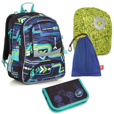 Set pre školáka NIKI 18016 B SET LARGE - školská taška, vrecko na prezuvky, pláštenka na batoh, školský peračník