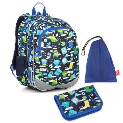 Set pre školáka ELLY 18002 B SET MEDIUM - Školská taška, Vrecko na prezuvky, Školský peračník