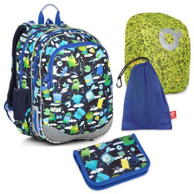Set pre školáka ELLY 18002 B SET LARGE - školská taška, vrecko na prezuvky, pláštenka na batoh, školský peračník