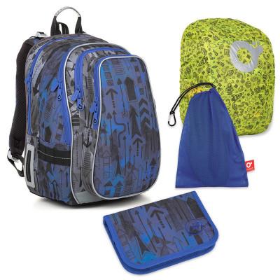 Set pre školáka LYNN 18005 B SET LARGE - školská taška, vrecko na prezuvky, pláštenka na batoh, školský peračník