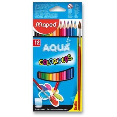 Akvarelové pastelky Maped – 12 farieb + štetec