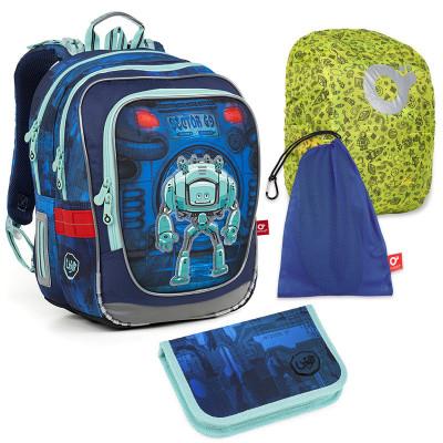 Set pre školáka ENDY 18047 B SET LARGE - školská taška, vrecko na prezuvky, pláštenka na batoh, školský peračník