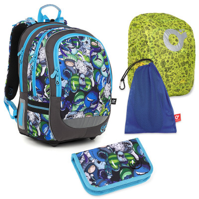 Set pre školáka Topgal CODA 18048 B LARGE - školská taška, vrecko na prezuvky, pláštenka na batoh, školský peračník