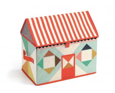 Textilný box na hračky – domček
