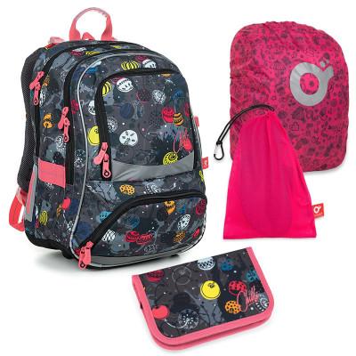Set pre školáka NIKI 19007 G SET LARGE - školská taška, vrecko na prezuvky, pláštenka na batoh, školský peračník