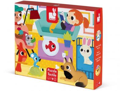 Detské puzzle senzorické Domáce zvieratá - s dotykovými prvkami 20 ks