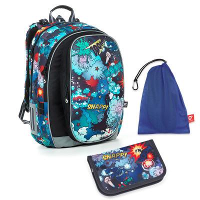 Set pre školáka MIRA 19019 B SET MEDIUM - školská taška, vrecko na prezuvky, školský peračník