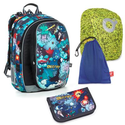 Set pre školáka MIRA 19019 B SET LARGE - Školská taška, Vrecko na prezuvky, Pláštenka na batoh, Školský peračník