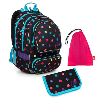 Set pre školáka ALLY 19009 G SET MEDIUM - Školská taška, Vrecko na prezuvky, Školský peračník