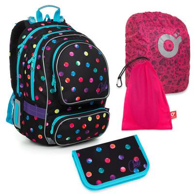 Set pre školáka ALLY 19009 G SET LARGE - školská taška, vrecko na prezuvky, pláštenka na batoh, školský peračník