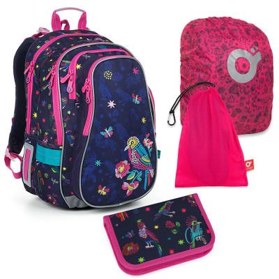 Set pre školáka LYNN 19008 G SET LARGE - školská taška, vrecko na prezuvky, pláštenka na batoh, školský peračník
