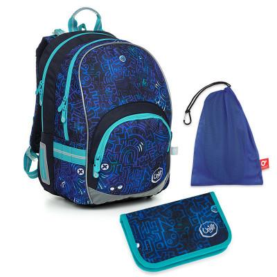Set pre školáka KIMI 19020 B SET MEDIUM - školská taška, vrecko na prezuvky, školský peračník