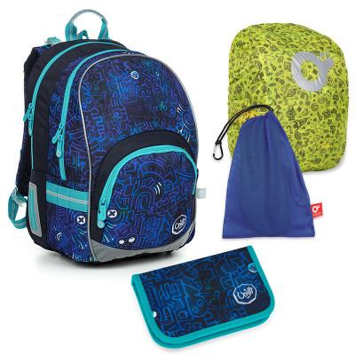 Set pre školáka KIMI 19020 B SET LARGE - školská taška, vrecko na prezuvky, pláštenka na batoh, školský peračník