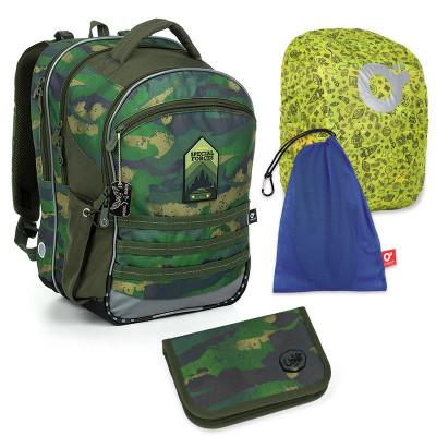 Set pre školáka COCO 19015 B SET LARGE - školská taška, vrecko na prezuvky, pláštenka na batoh, školský peračník