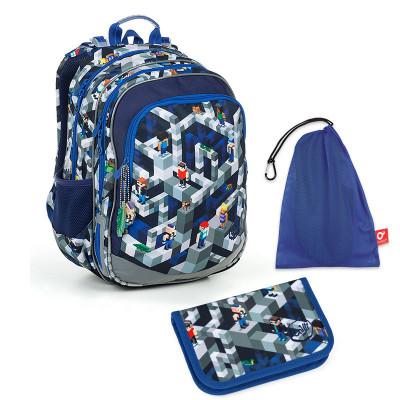 Set pre školáka ELLY 19014 G SET MEDIUM - Školská taška, Vrecko na prezuvky, Školský peračník