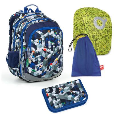 Set pre školáka ELLY 19014 G SET LARGE - školská taška, vrecko na prezuvky, pláštenka na batoh, školský peračník