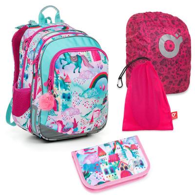 Set pre školáka ELLY 19004 G SET LARGE - školská taška, vrecko na prezuvky, pláštenka na batoh, školský peračník
