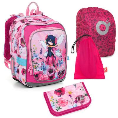 Set pre školáčku ENDY 19003 G SET LARGE - školská taška, vrecko na prezuvky, pláštenka na batoh, školský peračník