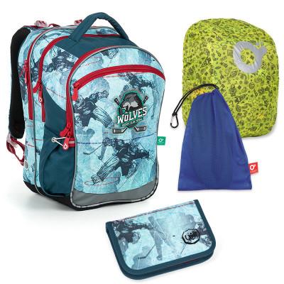 Set pre školáka COCO 19012 B SET LARGE - školská taška, vrecko na prezuvky, pláštenka na batoh, školský peračník