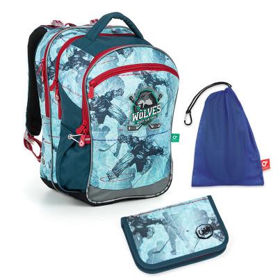 Set pre školáka COCO 19012 B SET MEDIUM - Školská taška, Vrecko na prezuvky, Školský peračník