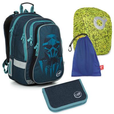 Set pre školáka LYNN 19018 B SET LARGE - školská taška, vrecko na prezuvky, pláštenka na batoh, školský peračník