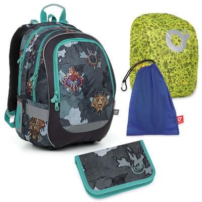 Set pre školáka CODA 19016 B SET LARGE - školská taška, vrecko na prezuvky, pláštenka na batoh, školský peračník